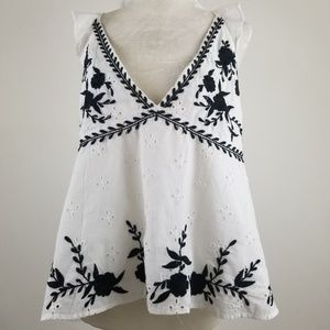 Zara Trf Collection blouse white & Black Size XL